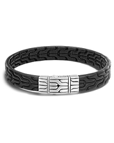 John Hardy Men's Sterling Silver Classic Chain Bracelet with Black Leather