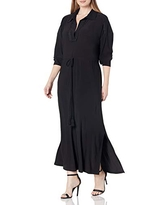 Taylor Dresses Women's Size Long Sleeve V-Neck Solid Jersey Maxi Dress with Lace and Tie Waist, Black, 24-25 Plus