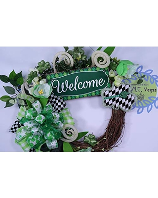 Gnome St Pattys Day Grapevine Wreath with Rag Bow, Large Fabric Clover St Patricks Day Wreath, Irish Door Decor, Floral Arrangement,