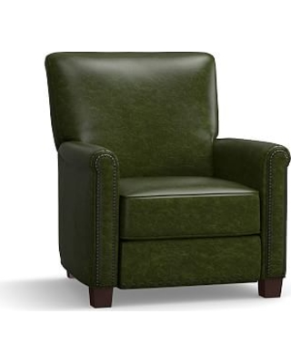 Irving Leather Recliner, Bronze Nailheads, Polyester Wrapped Cushions, Leather Legacy Forest Green