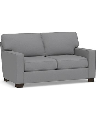 """Buchanan Square Arm Upholstered Loveseat 77.5"""", Polyester Wrapped Cushions, Textured Twill Light Gray"""