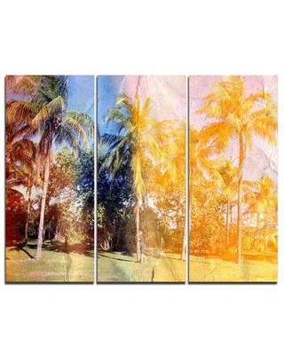 Design Art Retro Palms in Yellow Shade - 3 Piece Graphic Art on Wrapped Canvas Set PT7799-3P