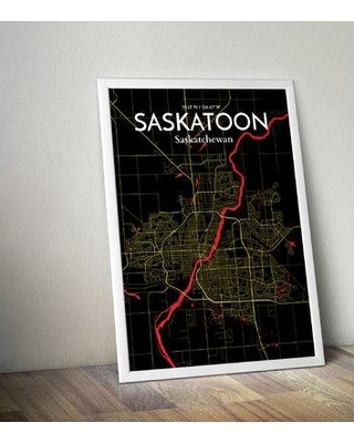 "OurPoster.com 'Saskatoon City Map' Graphic Art Print in Black/Yellow OP-YXE Size: 24"" H x 18"" W"