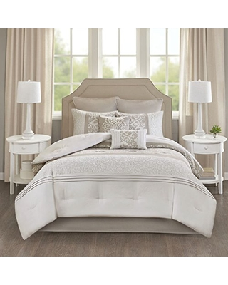 Ramsey Embroidered 8 Piece Comforter Set Neutral Cal King