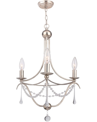 Crystorama Metro 3-Light 20 inch Mini Chandelier in Antique Silver with Clear Glass Beads Crystals