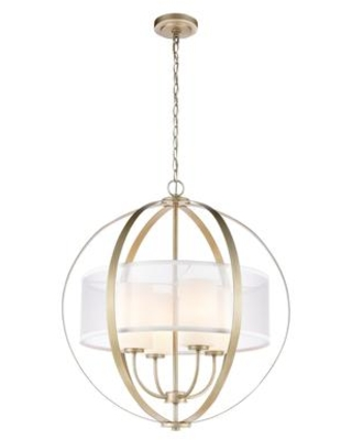 57039/4 Diffusion 4-Light Pendant in Aged Silver with Frosted Glass Inside Silver Organza