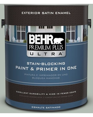 BEHR ULTRA 1 gal. #N400-3 Flagstaff Green Satin Enamel Exterior Paint and Primer in One