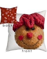 "SafiyaJamila Holiday Treasures Gingerbread Lady Throw Pillow GingerLady_ Size: 18"" H x 18"" W"