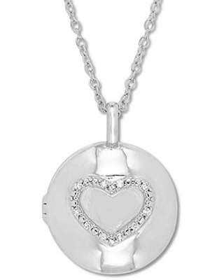 14788b46a Amazing Deal on Diamond Heart Locket Necklace 1/20 ct tw Round ...