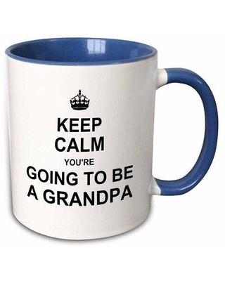 "East Urban Home Keep Calm Youre Going to Be a Grandpa Coffee Mug W000368340 Size: 3.75"" H x 4"" W x 3"" D Color: Blue"