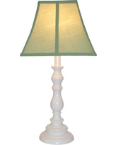 White Resin Table Lamp - Sage (Green)