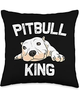 Best Pittie Pup & Bull Terrier Bulldog Owner Arts Funny Pitbull Gift For Men Papa Pet Canine Dog Puppy Animal Throw Pillow, 16x16, Multicolor