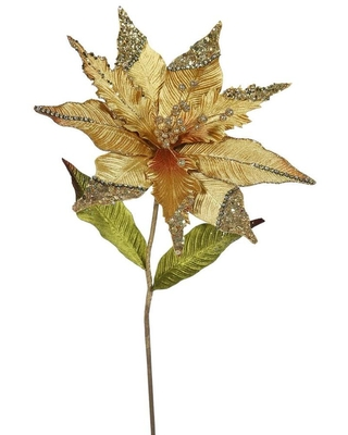 Vickerman 26-in Gold Indoor Artificial Poinsettia Flowers Polyester   OF161408