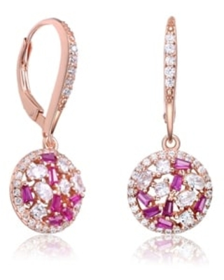 Collette Z Sterling Silver Baguete, Oval and Round Cubic Zirconia Round Leverback Earrings (Red - Rose)