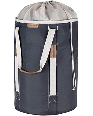 Charcoal CleverMade Backpack Laundry Duffle Bag Tote with Comfortable Shoulder Straps and Durable Handles Extra Large Capacity Polyester Clothes Hamper with Drawstring Top Closure Lid