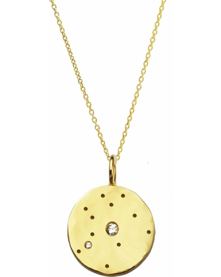 Yvonne Henderson Jewellery - Aquarius Constellation Necklace with White Sapphires - Gold