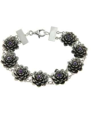 Silver and Amethyst Lotus Bracelet Artisan Crafted Jewelry