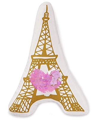 Heritage Kids Eiffel Tower Figural Throw Dec Pillow with Heart Sequin, Gold