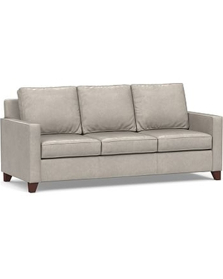 Cameron Square Arm Leather Sofa 87 Polyester Wred Cushions Statesville Pebble