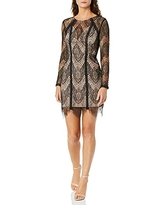 ASTR the label Women's Long Sleeve Illusion Bodycon Dress, Black/Nude lace, M
