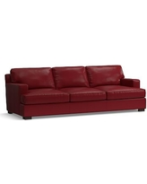Townsend Square Arm Leather Grand Sofa, Polyester Wrapped Cushions, Leather Signature Berry Red