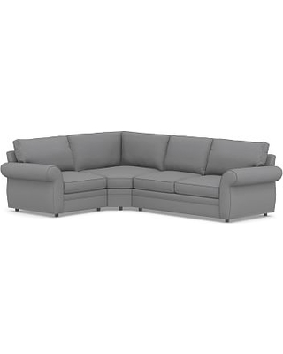 Pearce Roll Arm Upholstered Right Arm 3-Piece Wedge Sectional, Down Blend Wrapped Cushions, Textured Twill Light Gray