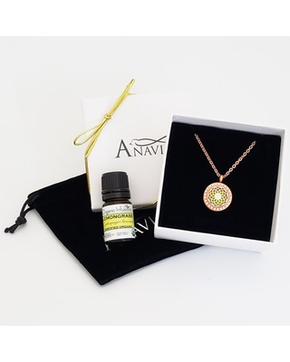 Anavia Aromatherapy Starter Kit Dream Catcher Anniversary Gift for Her Girlfriend Wife Diffuser Rhinestone Necklace & Organic Essential Oil Jewelry Gift Set - Rose Gold Necklace & Lemongrass Oil