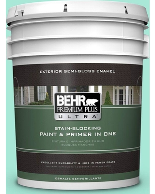 BEHR ULTRA 5 gal. #480A-2 Botanical Tint Semi-Gloss Enamel Exterior Paint and Primer in One