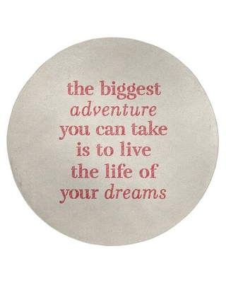 Handwritten The Biggest Adventure Quote Poly Chenille Rug East Urban Home Rug Size: Round 5'