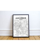 "Wrought Studio Ann Arbor City Map' Graphic Art Print Poster in White VRKG7559 Size: 36"" H x 24"" W"