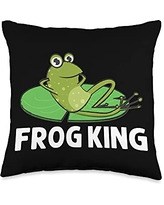 Funny Amphibian Animal Green Frog Themed Designs Frog Gift For Men Grandpa Cute Bullfrog Toad Tadpole Lovers Throw Pillow, 16x16, Multicolor