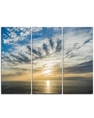 New Deal On Design Art Sunset Sky Above Atlantic 3 Piece Graphic Art On Wrapped Canvas Set Canvas Fabric In Brown Blue Size Medium 25 32 Wayfair