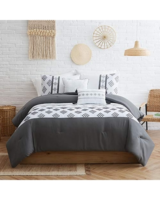 Modern Threads 5 Piece Embroidered Comforter Set Rosewood, King, White/Grey