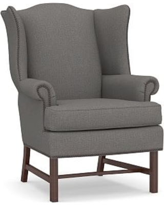 Thatcher Upholstered Armchair, Polyester Wrapped Cushions, Performance Brushed Basketweave Slate
