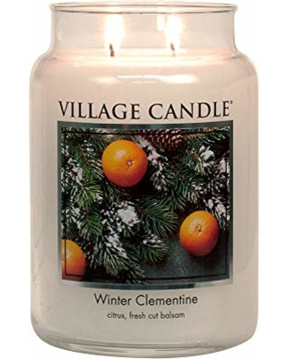 Village Candle Winter Clementine 26 oz Glass Jar Scented Candle, Large