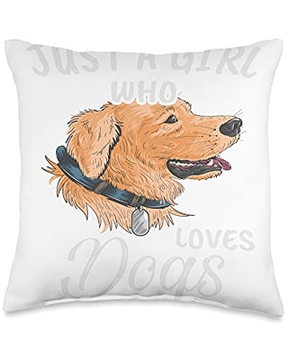 TeePrincess Funny Art Watercolor Just A Girl Who Loves Dogs Throw Pillow, 16x16, Multicolor