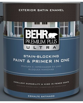 BEHR ULTRA 1 gal. #N490-6 Calligraphy Satin Enamel Exterior Paint and Primer in One