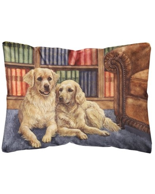Golden Retrievers in the Library Fabric Decorative Pillow