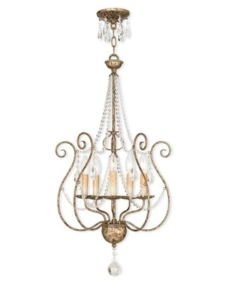 Charley 5 - Light Candle Style Classic Chandelier with Crystal Accents