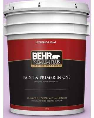 BEHR PREMIUM PLUS 5 gal. #P100-3 Epiphany Flat Exterior Paint and Primer in One