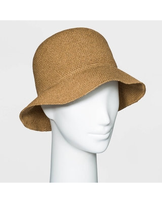 Women's Packable Straw Cloche Hat - Universal Thread Brown