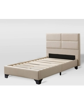 Twin Bellevue Wide Rectangle Panel Fabric Bed and Frame Cream - CorLiving