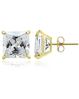14k Gold and Cubic Zirconia Stud Earrings (Square 6MM)