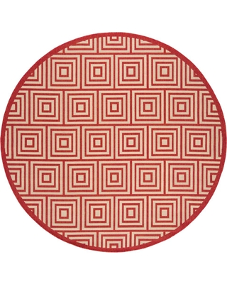 Safavieh Linden Red/Cream (Red/Ivory) 6 ft. 7 in. x 6 ft. 7 in. Round Area Rug