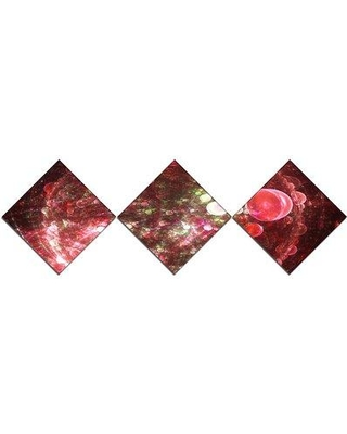 East Urban Home 'Red Spherical Planet Bubbles' Graphic Art Print Multi-Piece Image on Canvas URBR1537