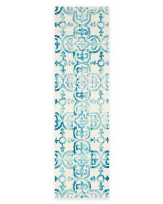 Safavieh Dip Dye Clover 2-Foot 3-Inch x 10-Foot Runner in Ivory/Turquoise