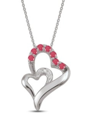 Sterling Silver Genuine Birthstone Pendant Necklace with Diamond Accent (July - Dark Red - N - Ruby - Red)
