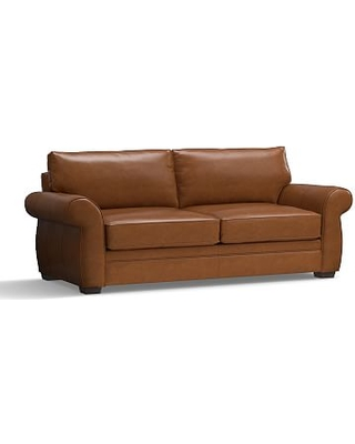 """Pearce Leather Grand Sofa 90"""", Down Blend Wrapped Cushions, Leather Signature Maple"""