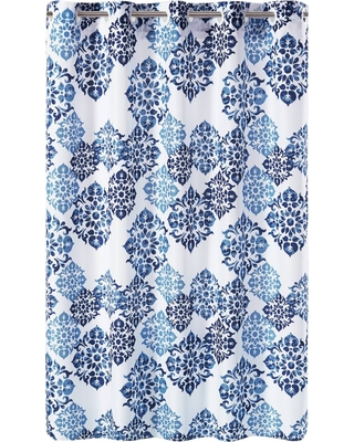Alessandra Medallion Shower Curtain With Liner Blue