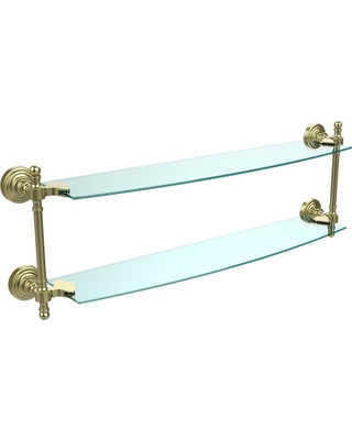 Allied Brass Retro Wave Collection 24 in. Two Tiered Glass Shelf in Satin Brass